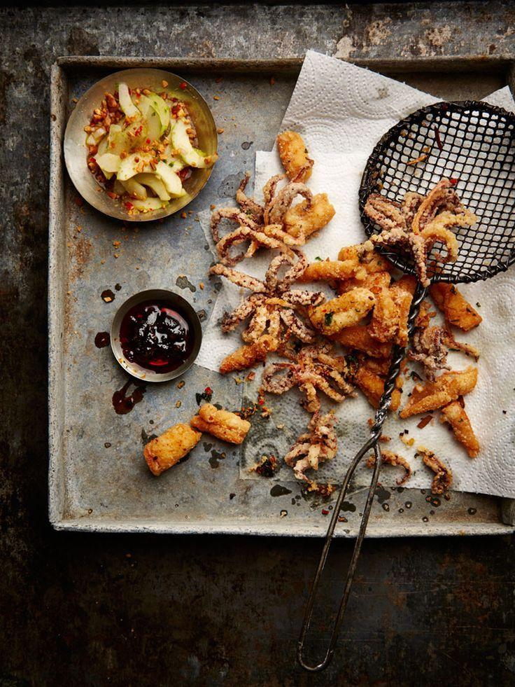 Crispy Squid with Nam Prik Pao and Cucumber Relish Food &