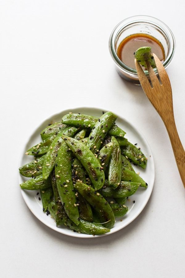 Roasted Sugar Snap Peas with Sesame Dipping Sauce Edible Perspective