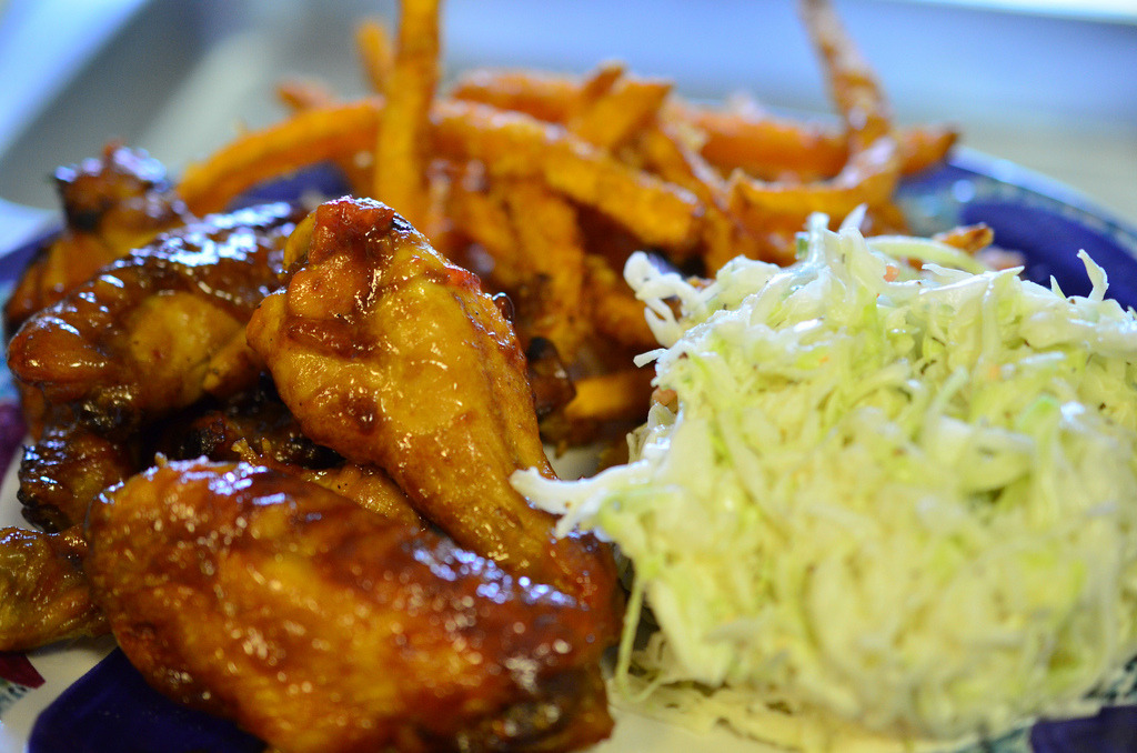 Chicken Wings, Slaw & Sweet Potato Fries