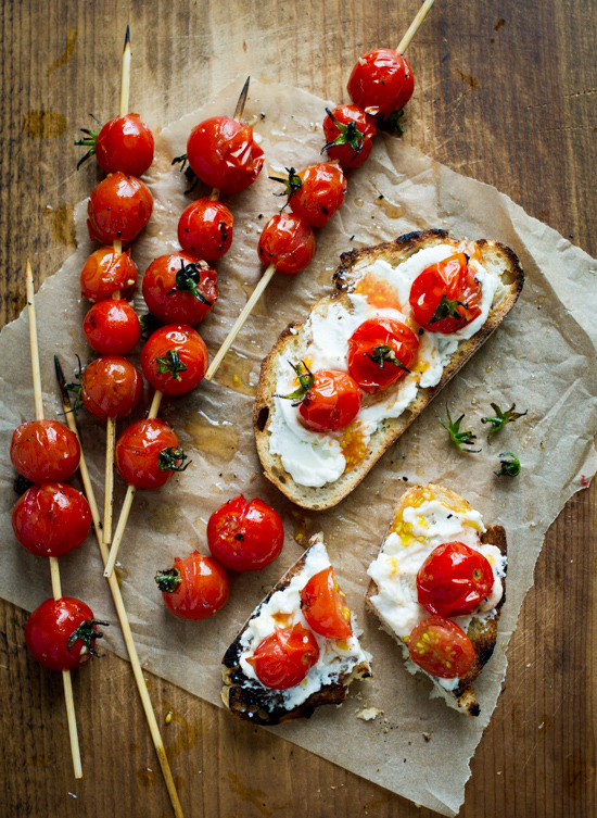 grilled tomato kebabs and tomato crostini