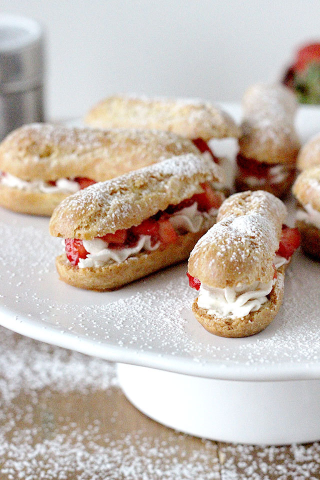 Mini Strawberries and Cream Eclairs