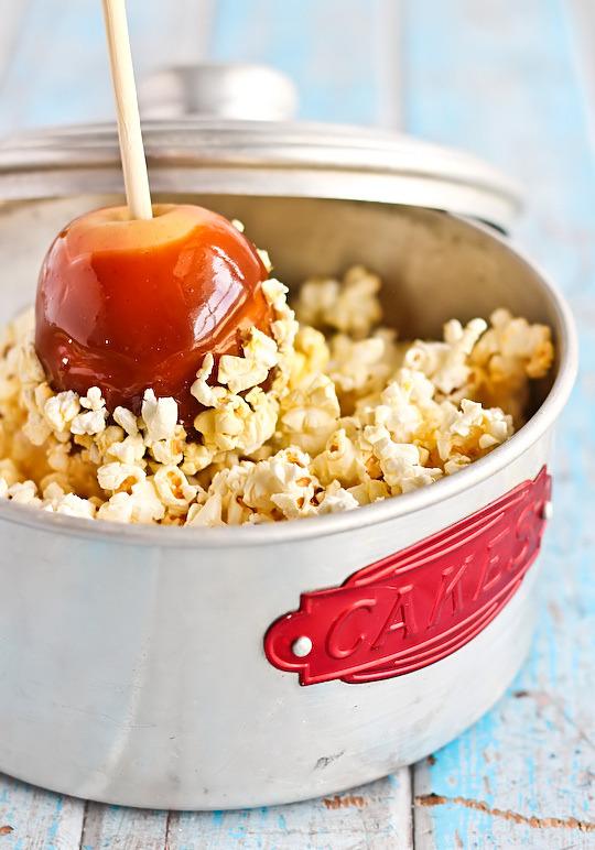 Salted Caramel Apples with Popcorn