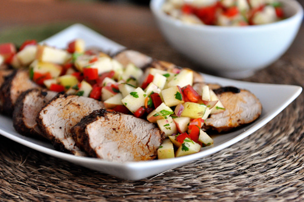 Cinnamon and Chili Pork Tenderloin with Fresh Apple Salsa