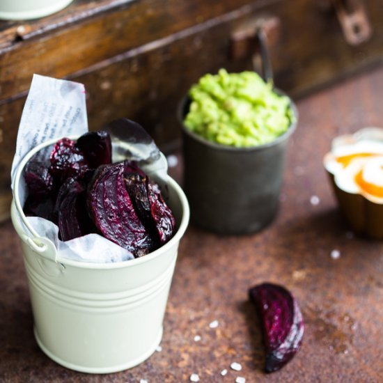 Beetroot Chips with Dipping Sauces Follow