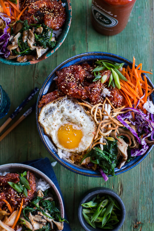Korean Style Fried Shrimp Rice Bowls with Kimchi + Crunchy NoodlesSource