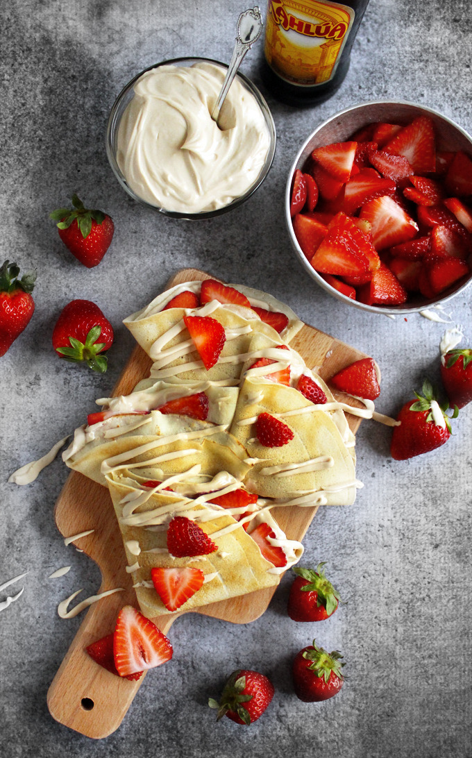 Strawberry & Kahlua Cream Cheese Crepes