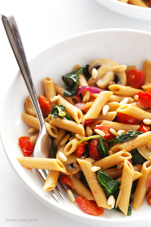 Pasta with Mushrooms, Tomatoes and SpinachSource
