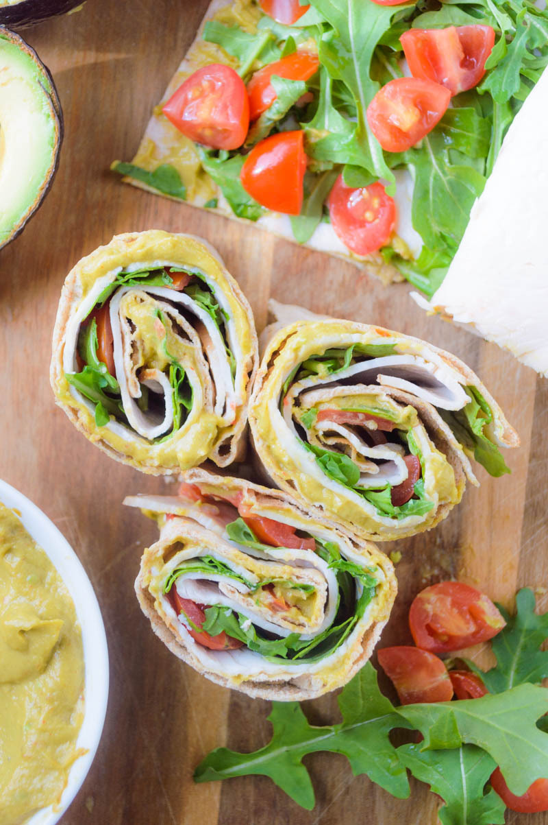 Spicy Avocado Mayo Turkey Club Rollups