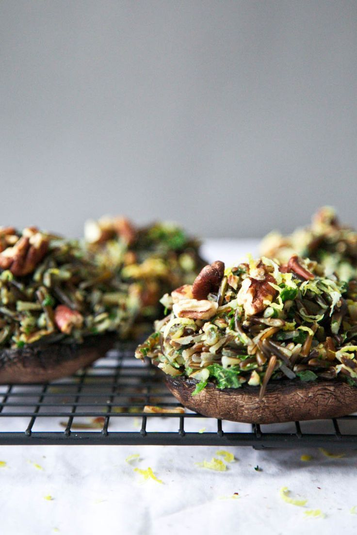 Herbed Wild Rice & Toasted Pecan Stuffed Portobellos (via http