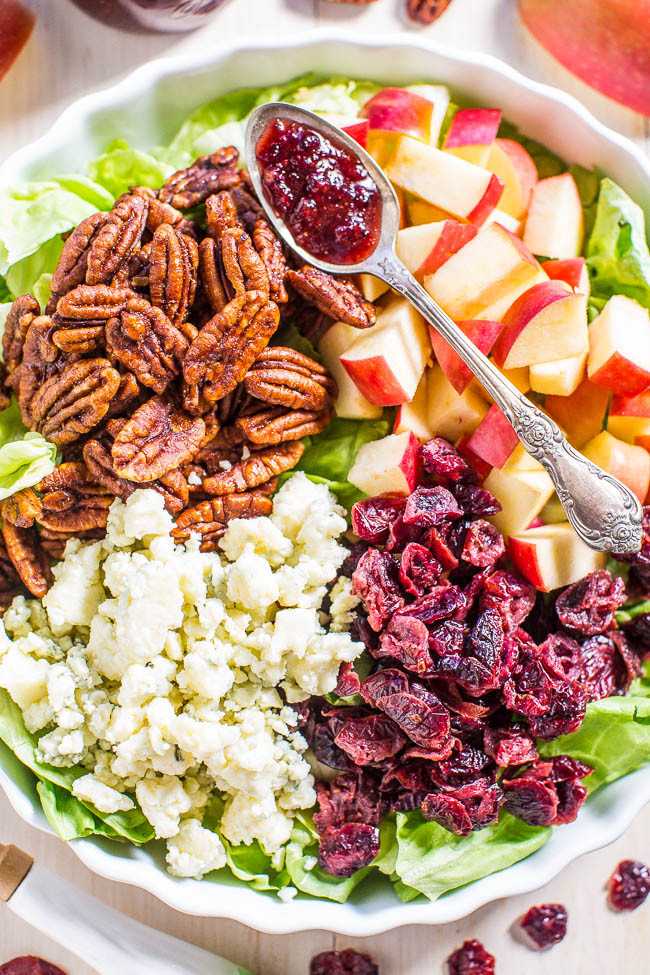 Cranberry, apple and blue cheese salad with cranberry-apple cider dressing
